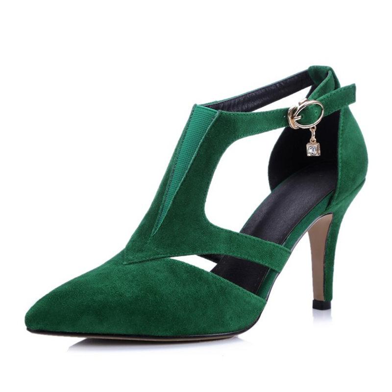 Фотография Sheepskin Brand genuine leather fashion women pointed toe t-strap pumps thin high heels ladies footwear party sexy dating shoes