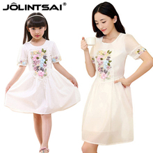2016 Matching Mother And Daughter Dresses Women Clothes Summer Dress Girl Three-dimensional Embroidery Flowers Family Clothing