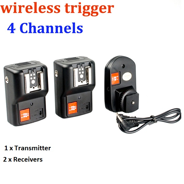 WanSen PT-04GY 4 Channels Wireless / Radio Flash Trigger Transmitter + 2 Receivers for Canon Nikon Pentax Olympus(China (Mainland))