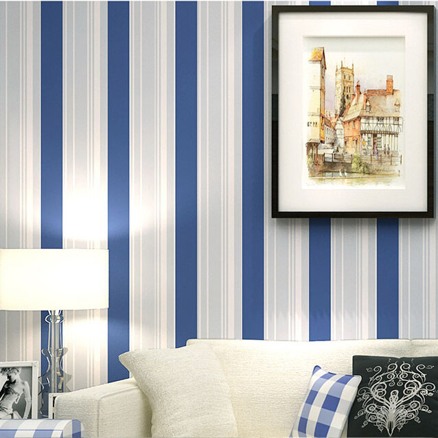 Seller 39 s boys bedroom wallpaper mediterranean blue striped for Striped wallpaper bedroom designs