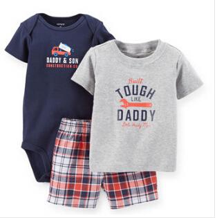 2015 Carters Baby Girls Summer New 3-Piece Bodysuit and Short Set Cotton Grey Wrench Shirt Blue Pant Clothing set,Freeshipping(China (Mainland))