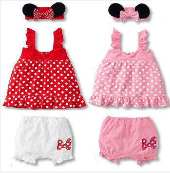 Lovely baby girl 3-piece suit: mouse ears headband + polka dot dress + white shorts/ 2 colors: Pink and Red<br><br>Aliexpress