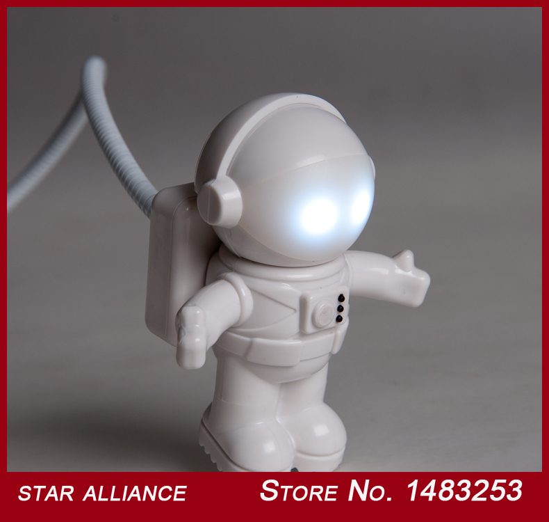 Free Shipping White USB/Plug Astronaut LED Sound/Light Controlled Wall Lamp Night Lights For Computer PC 2pcs/lot(China (Mainland))