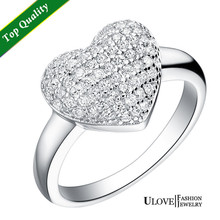 Hot Sale women's Luxury Jewelry Rock Style Women 925 Sterling Silver White Gold Plated Engagement Heart Ring Zirconia Ulove J070(China (Mainland))