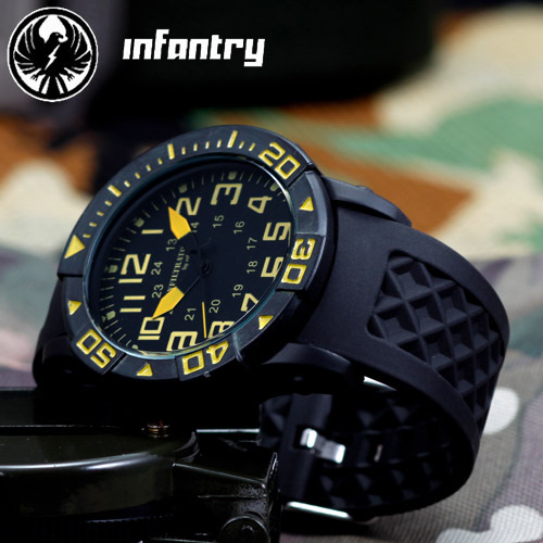 INFANTRY Yellow Dial Men's Relogios Masculinos Analog Sport ristwatch Rubber Bracelet Quartz Movement With Original Box(Hong Kong)