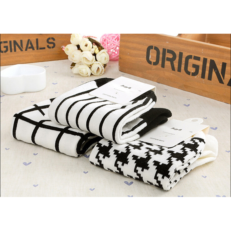1 pair Soft Pure Socks Elastic Low Cut Grids Stripes Short Ankle Socks Cotton Houndstooth Exercise