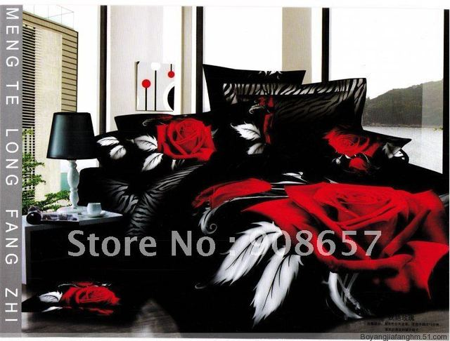 Printed comforter covers 100% Cotton red rose flower black background floral pattern Queen bed in a bag sets 4 pcs with sheets
