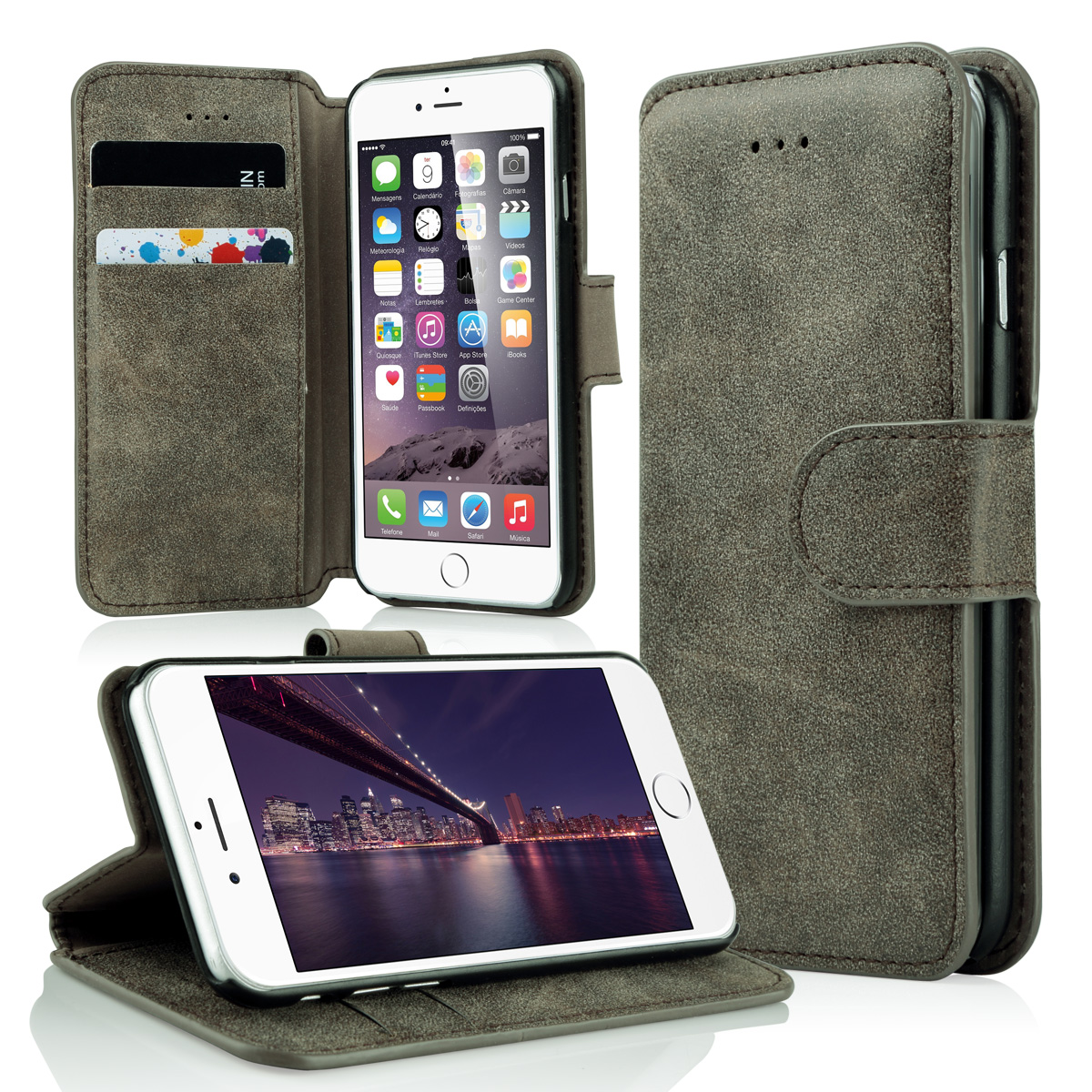 ULAK Synthetic Wallet Foldable Media Stand Case for Apple iPhone 6 plus 5.5 inch/iPhone 6S plus 5.5 inch (Dark Brown)(China (Mainland))
