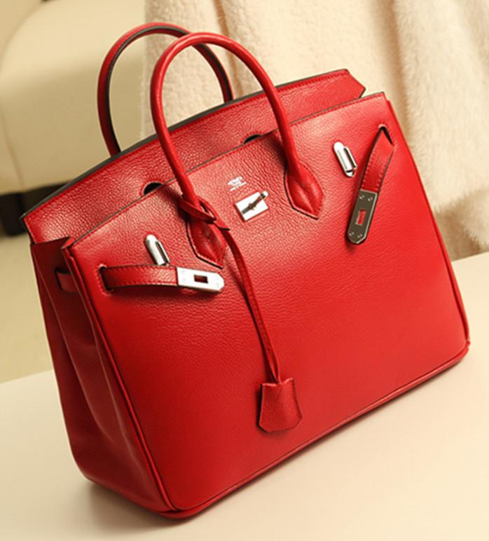 Top High Quality Women Handbag Genuine Leather H Shoulder Bag Fashion Lady Tote Famous Brand Designer 30/35 Red Black Pink Bags(China (Mainland))