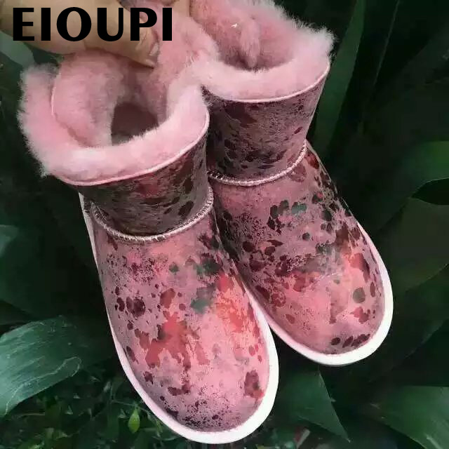 Фотография top quality Warm winter brand snow boots real sheep leather Women casual fashion natural wool woolen fur boot  uo09