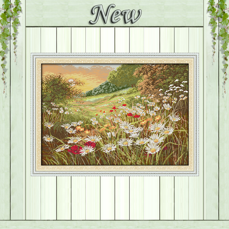 Daisy Beautiful Flowers scenery painting counted printed on canvas DMC 14CT 11CT DMS Cross Stitch Embroider kits Needlework Sets