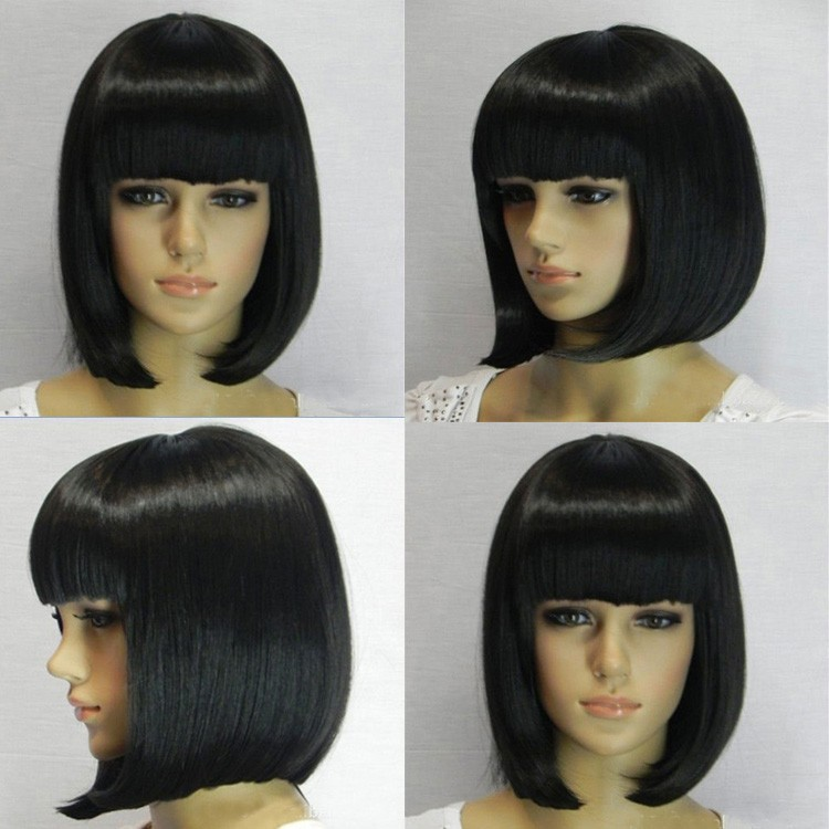 new arrival black short synthetic bobo hair wigs with bangs cheap price wholesale high quality black short bob wigs for women