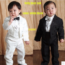 Free shipping High-quatity classic formal dress kids blazers jackets boys wedding suit children outerwear clothing 5 pcs T1324(China (Mainland))