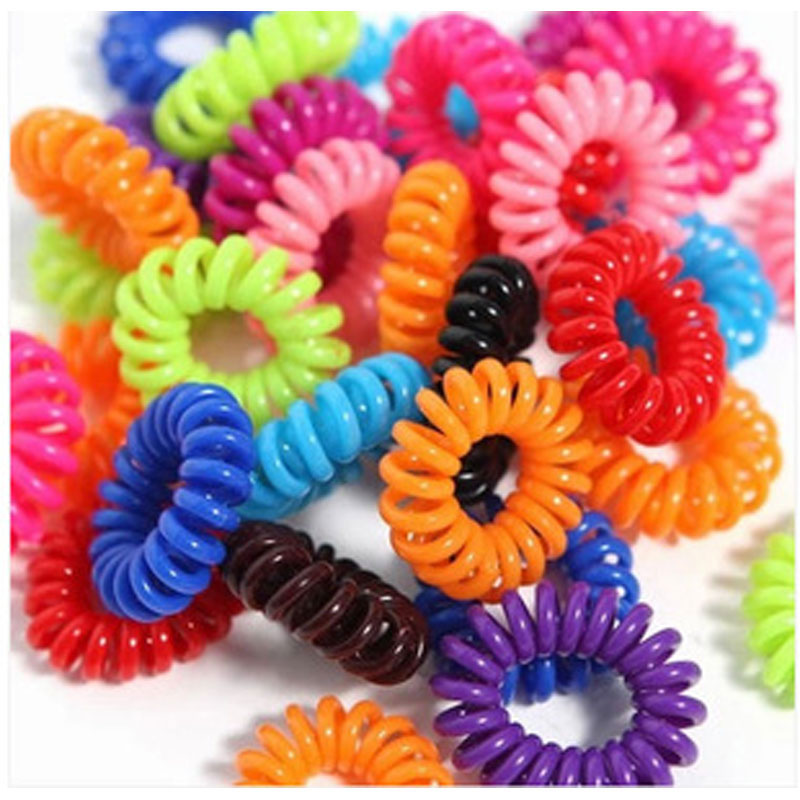 30PCS Hot Selling Plastic Hair Bands Head Colorful Rope Spiral Shape Hair  Ties e5bcc74b00a