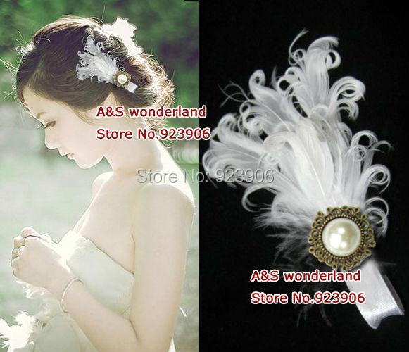 white Feather Headpiece bride Fascinator Bridesmaids Fascinator hair clip feather hair accessory hairwear(China (Mainland))
