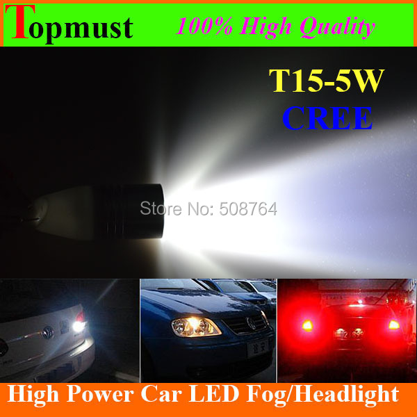 10 X W5W 921 912 High Power T15 T10 CREE Led White Optical Projector Lens Bulbs Lamp for Car Backup led drl Reverse Lights(China (Mainland))