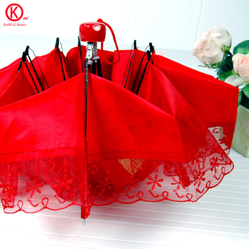 Chinese tradition big red umbrella Wedding supplies Festival celebration Special purpose Lace flowers edge(China (Mainland))