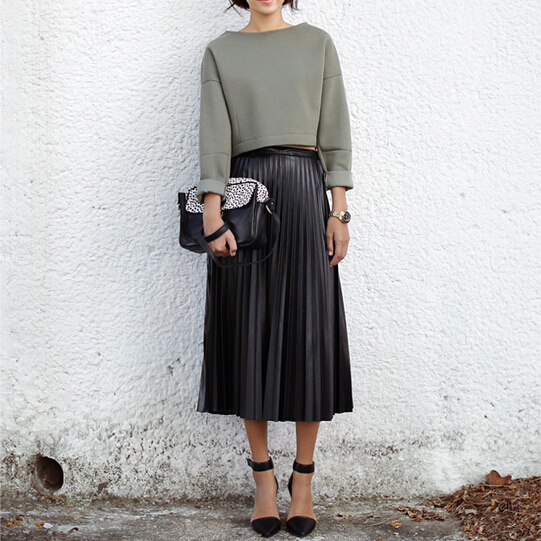 Outfits with leather pleated skirts – Modern skirts blog for you