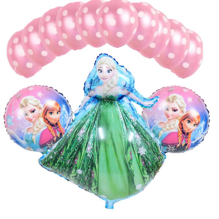 13 Pcs/lot Baby Girl Birthday Party Helium Balloons Elsa princess Ballons Decoration Birthday Baby Shower Balloons Air Balls(China (Mainland))