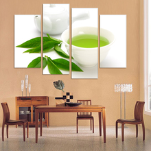 Buy Wall Art 4 Piece Canvas Kitchen Modern Wall Green Tea Painting Home Art Picture Paint Canvas Prints Decor Cuadros De Lien for $31.50 in AliExpress store