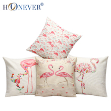 Stylish Flamingo Cushion Cover Cotton Linen Throw Pillow Case Birds Cushion Covers Sofa Bed Decor(China (Mainland))