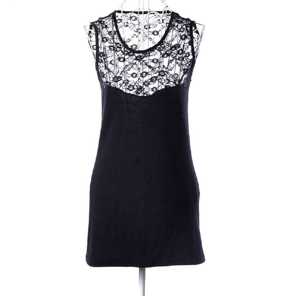 Women's Summer Clothing Sleeveless Splicing Lace Dress Sexy Backless Pierced Party Clubbing Mini Dress Vestidos(China (Mainland))