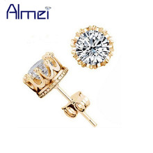 49% off Silver CZ Diamond Male Crystal Cute Earings Cubic Zircon for Women Bigiotteria Cristallo Platinum 24K Gold Plated Y048(China (Mainland))