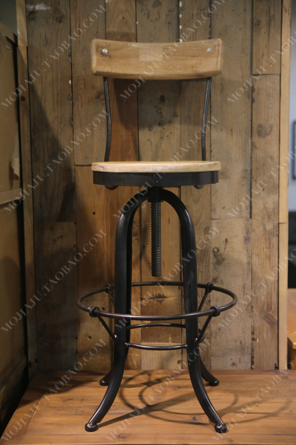 Gratis verzending amerikaanse landelijke industrie vintage massief houten bank kruk bar stoelen - Stoelen leer en hout ...