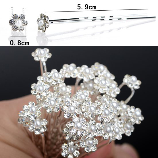 200PCS New Wedding Bridal Pearl Flower Hairpin Hair Clips Bridesmaid Hair Accessories Women Jewelry Wholesale Free Shipping