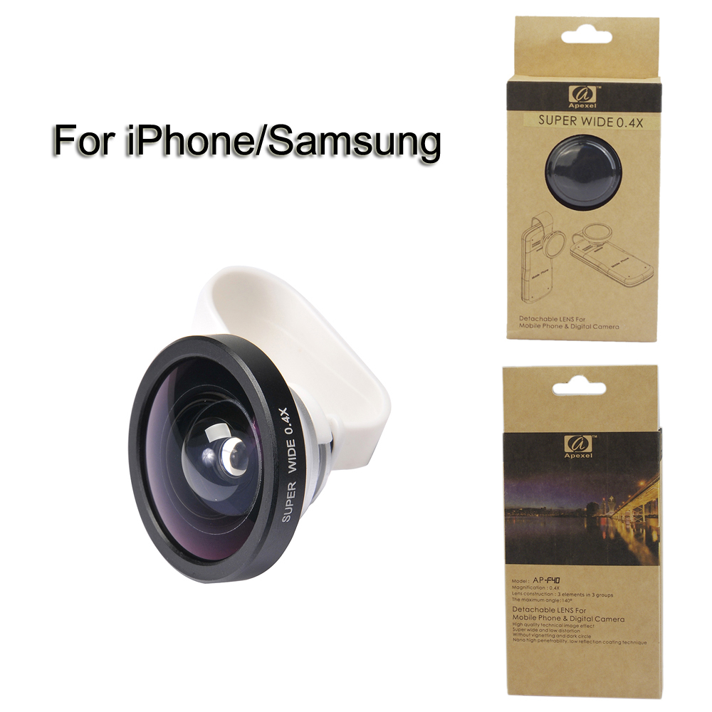 2016 new arrival Universal White Clip 0.4 X Super Wide lens For iPhone 6 plus/5&Samsung Galaxy Camera lens olho de peixeAPL-SW04