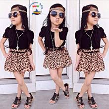 fashion girl's clothing sets baby girls set summer kids suit set cotton short sleeve black shirts/blouse+leopard skirts F1596(China (Mainland))