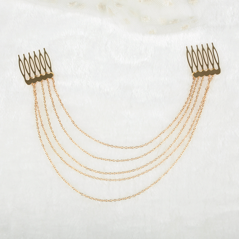 1 x Fashion Punk Hair Cuff Pin Clip 2 Combs Tassels Chains Head Band Jewelry Styling Accessories Silver Gold Color F20SS0042#Y6(China (Mainland))