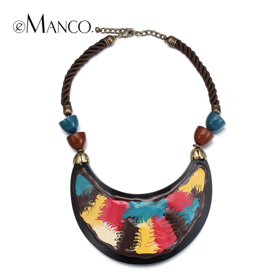 2015 eManco красочные ручная роспись себе ожерелье шик ювелирных эмаль смолаы ожерелье веревка колье ожерелья для женщин