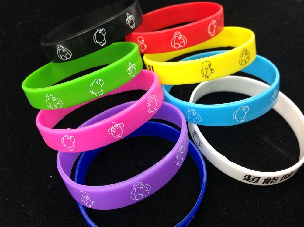 New Fashion Neutral Men Women Luminous Silicone gel Bracelet Super Marines Rubber Bands Carton Image Wristband 9 colors(China (Mainland))