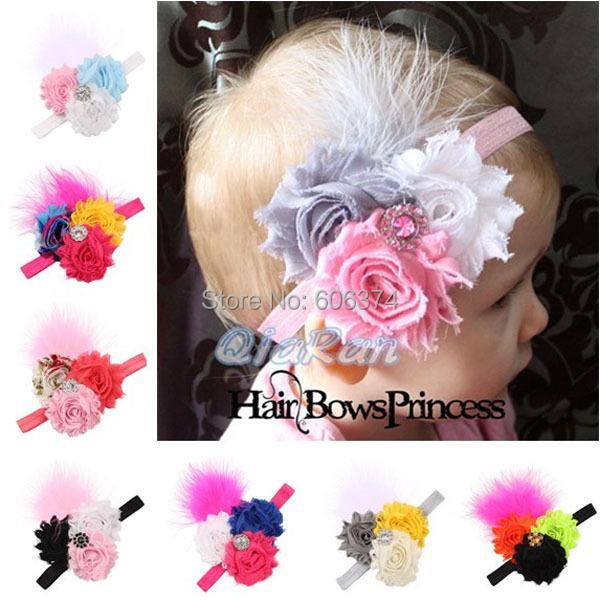 New Beautiful Three Flower Headband Cute Feather Design Hairband Rhinestone Hair Accessory Colorful Feather Headwear(China (Mainland))