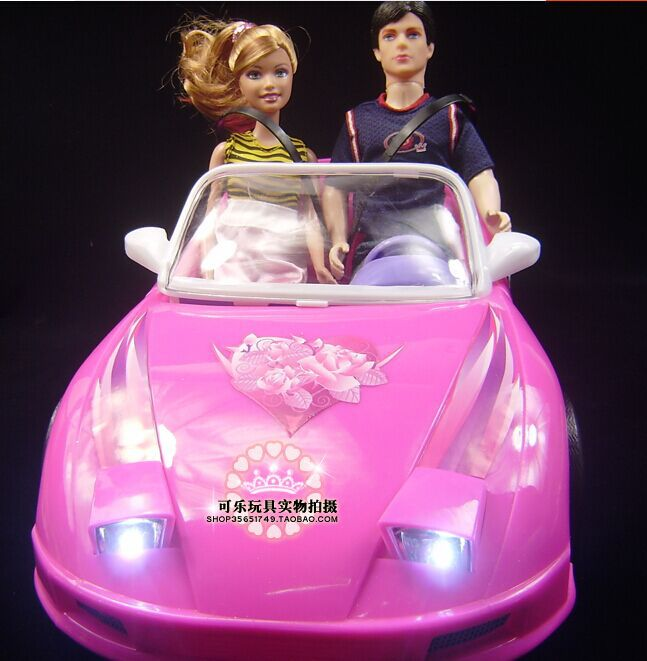 Pink Travel Rose Wedding Car / Baby Toy Doll's Simulation Vehicle Car Runabout Model with Light for Barbie Kurhn Doll Girls Gift(China (Mainland))