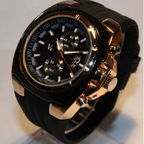 Men Vogue V6 Strips Hour Marks Round Rubber Band male sports Fashion dial quartz silicon military wrist watch(China (Mainland))