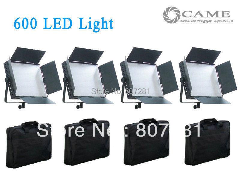 Bi-Color Free Bags 4pcs 600 LED Panel Video Light Film Camera Studio LEDS Light(China (Mainland))