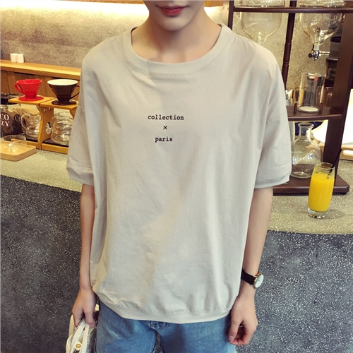 New fashion Hongkong shopkeeper style male pure cotton blusa masculina round collar letters short sleeve henley T shirt(China (Mainland))