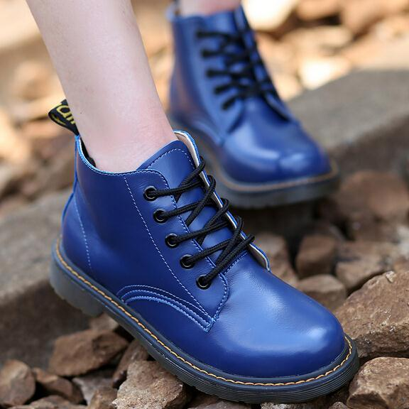 New Lace up Leather Ankle Boots Women Autumn/Spring Shoes Martins Motorcycle Boots For Women Botas Femininas 2015 Zapatos