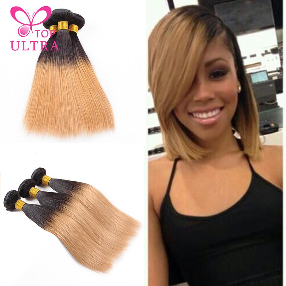 Ali Queen Hair Virgin Brazilian Straight Two Tone Human Hair Weaves 4Pcs T1B/27 Orange Star Ombre Hair Extension Free Shipping(China (Mainland))