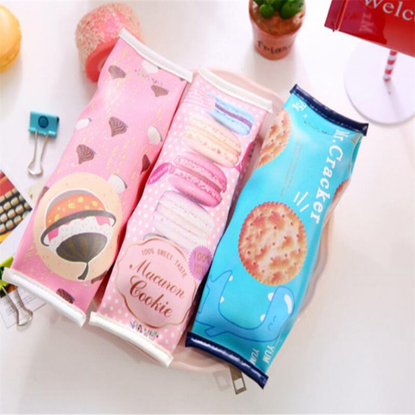 New School Office Supplies Unique Students Stationery Pencil Cases Candy Color Creative Kawaii Biscuit Pencil Bag(China (Mainland))