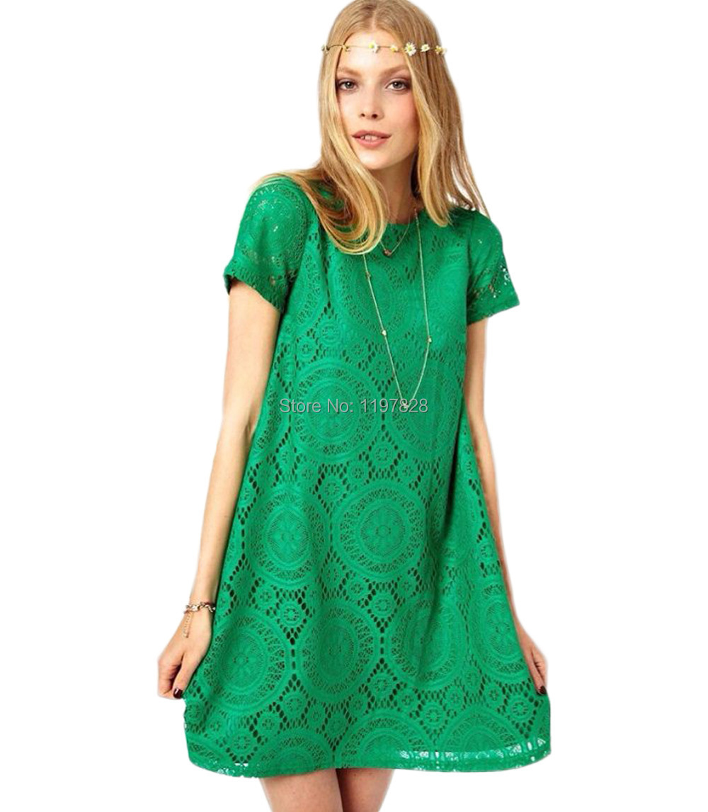 New Women Summer Casual Dress Ladies Lace Short Sleeve O ...
