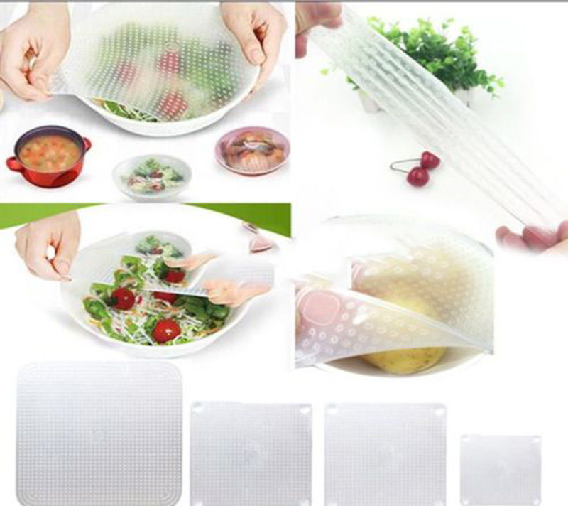 4Piece Environmental Silicone Wraps Seal Cover Stretch Cling Film Food Fresh Keep Kitchen Tools(China (Mainland))