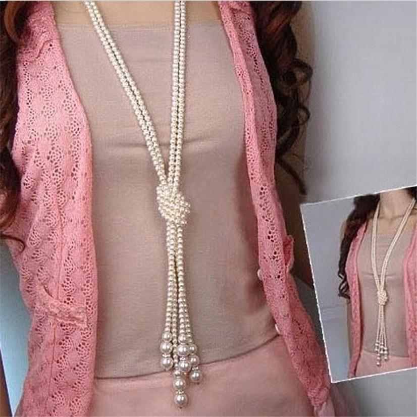 Нежный 1 шт. 130 см (51 дюймов) длинные узловатые multi имитация жемчужное ожерелье женщин цепи модные аксессуары ювелирные изделия для девочки