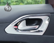 Free shipping Peugeot 2008 ABS Chrome trim interior door handle cover frame sticker decoration accessories 4pcs
