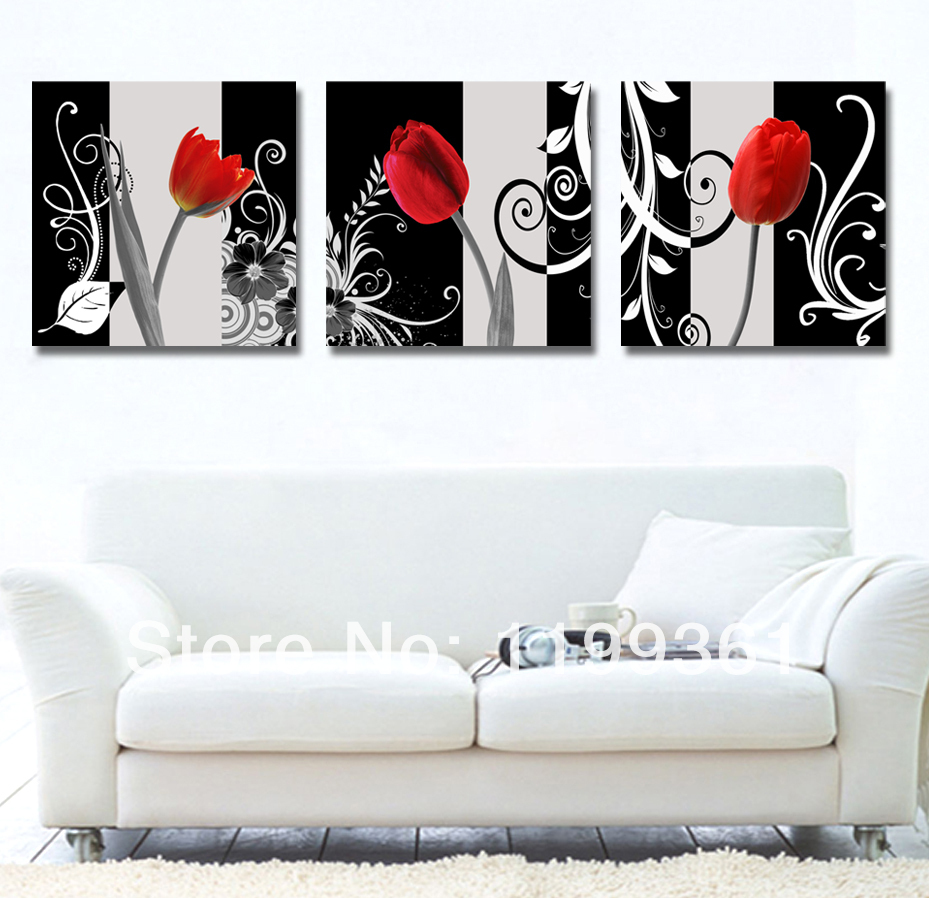 3 Piece Modern Wall Painting Black White Red Tulip Living Room Home Decoration Art Picture Paint Canvas Prints - Idea Furnishing store