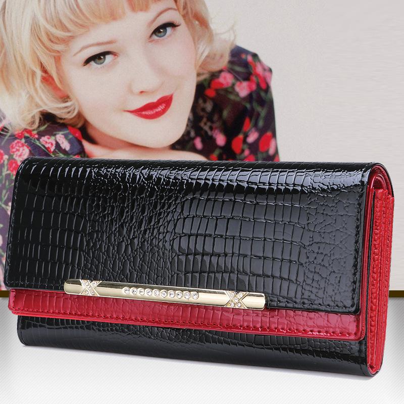 2015 Fashion Genuine Leather Wallet Long Woman Wallet Crocodile Pattern Purse Ladies Fashion Bag Female Clutch Purse Women Brand(China (Mainland))