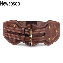 Buy winter women lady belts Fashion crazy horse leather needle buckle elastic wide luxury brand belt Women Genuine Leather belts for $7.50 in AliExpress store