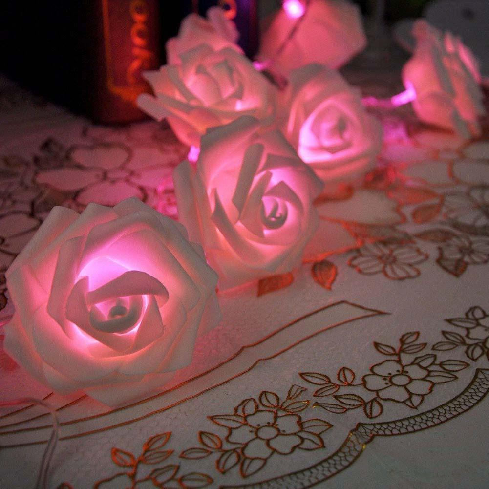 20 Led Romantic Rose Flower String Light Valentine's day Gift Decoration Wedding Party Bedroom Decor Pink PML(China (Mainland))